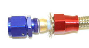Stainless Steel Line 90° Adaptor, -4 AN Gold/Blue